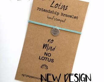 LOTUS Hand Stamped Friendship Bracelet ~ silver aluminium disc ~ Waxed Cotton Cord ~ No Mud, No Lotus quote ~ adjustable, choose a color
