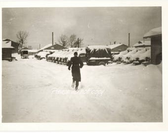 Vintage Snapshot Photo ~ a chilly winter dash  ~ abstract composition