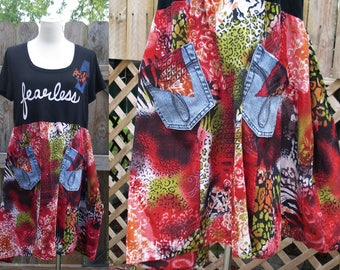 OOAK Artsy Boho Upcycled Tee Fearless Denim Pockets Tunic Top Flared Skirt Eco Reconstructed Festival Patches Top L/XL Brandy