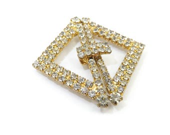 Vintage Rhinestone Buckle, Gold Tone, Wear, Repurpose, Assemblage Jewelry
