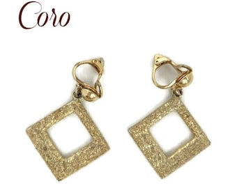 Vintage Coro Earrings | Dangling Gold Tone Glitter Clip-ons