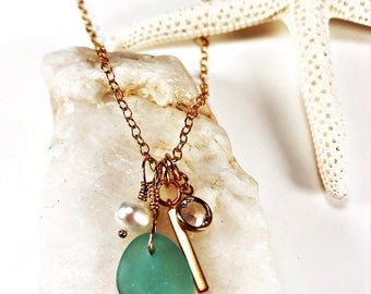 Sea Glass Necklace|Seaglass Necklace|Aqua Sea Glass Necklace|Sea Glass Jewelry|Charm Necklace|Gold Sea Glass Necklace|Gift for Her|Valentine