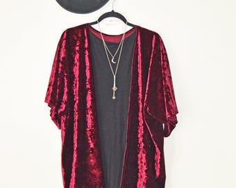 Burgundy Velvet Kimono /Velvet Cardigan / Kimono Cardigan / Kimono Jacket / Boho Kimono Shawl / Gift for her