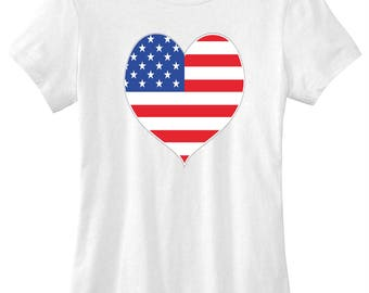 4th of July American flag heart graphic t-shirt funny ladies girls women tee tumblr instagram funny gift girls