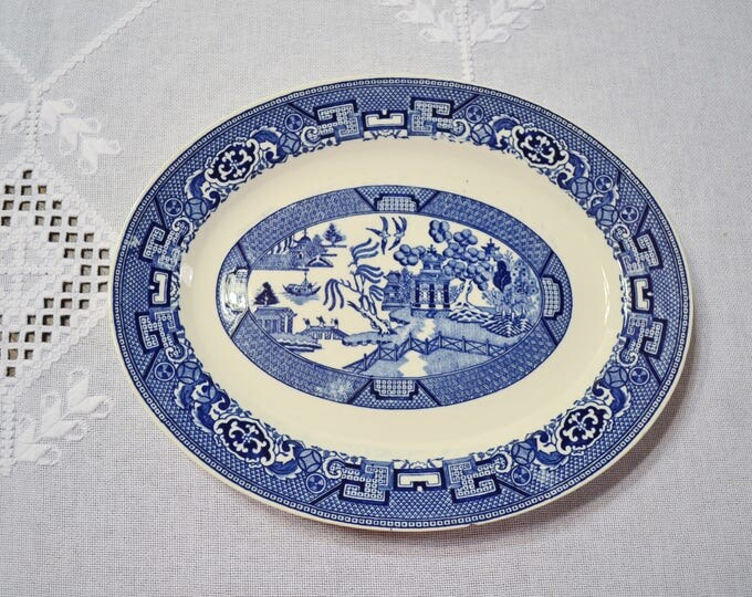 Vintage Blue Willow Oval Serving Platter Blue White China Chipped Homer Laughlin Replacement PanchosPorch