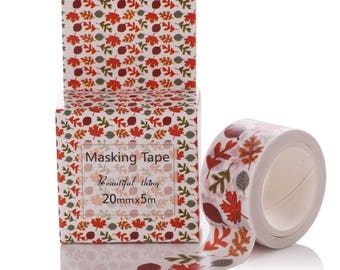 Fall Leaves Washi Tape-Crafting Tape/Fall Colors/Autumn/Scrapbooking/card making/ paper craft/Kawaii/Journal/Gift Wrap/Supplies/Harvest/