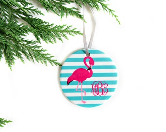 Flamingo Christmas Ornament, Monogrammed Gift for Women, Personalized Christmas Ornaments, Unique Gifts for Friends, Pink Christmas Decor