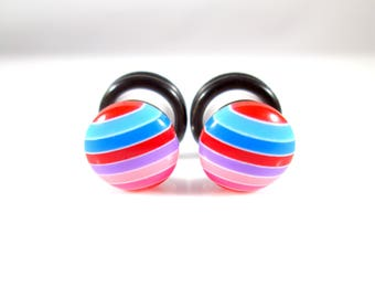 Pink, Red, and Blue Stripes Candy Dots plugs - Available in 4g, 2g, and 0g