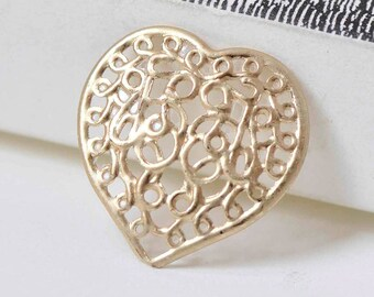20 pcs Matte Gold Filigree Heart Charms  21x22mm A8924