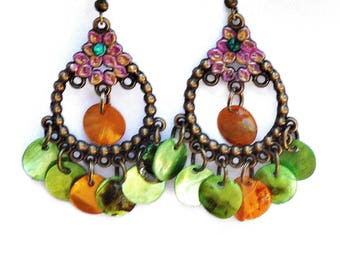 Colorful Chandelier Green Shell Earrings Boho Jewelry FREE SHIPPING