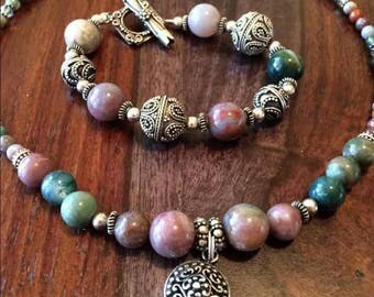 Multi Colored Jasper and Sterling Silver Jewelry Set