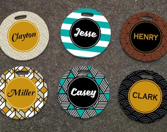 Personalized Retro Patterned Luggage Tag - Personalized Luggage Tags