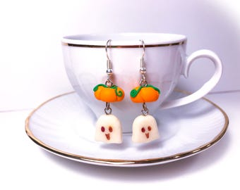 Earrings pumpkin and Ghost//halloween//gift for her original idea////theme party