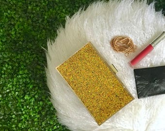 Gold Glitter Clutch | Boxy Clutch with Bling Bling Glitter