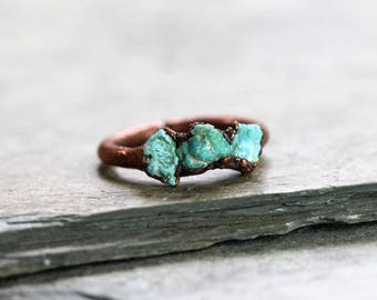 Turquoise Ring Electroformed Stone Multi Stone Ring Real Turquoise Copper Ring Sagittarius Birthstone Gemstone Delicate Ring