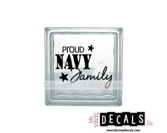 PROUD NAVY Family - Patriotic and Military Vinyl Lettering for Glass Blocks - USA Decals