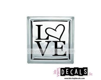 LOVE with heart - Valentine's Day Vinyl Lettering for Glass Blocks - Craft Decals