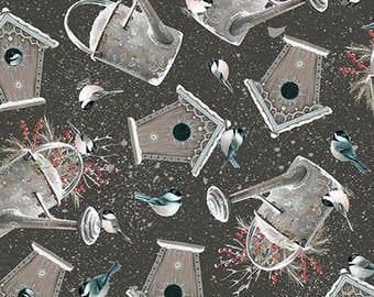 Bird House Fabric,  Watering Can, Chickadee, Winter Garden - by Sarah Summers - Quilting Treasures 26240 Black  - Priced by the Half Yard