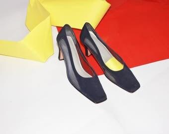 Blue Mesh Heels / See Through Heels / 80s Navy Blue Pumps / Size 9