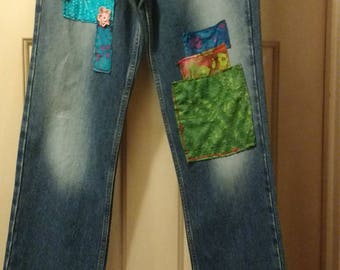 Upcycled Women's Blue Jeans, Women's Jeans