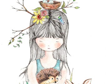 Small brave girl with hedgehog and fawn, water color print