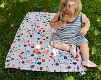 Sports Baby Blanket - Boy's Minky Baby Blanket - Baby Blanket with Sport Theme - Minky Baby Blanket - Baby Gifts - Nursery Decor - Baby Item