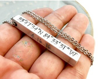 Personalized 4 Sided Solid Bar Necklace Key Chain Aluminum, Brass OR Copper Custom Hand Stamped Coordinates Names Dates Wanderlust Travel