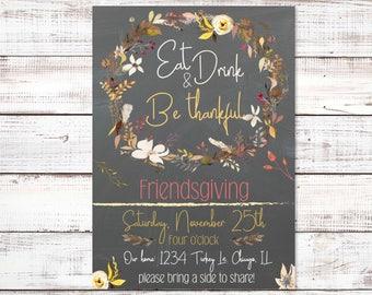 Friendsgiving Dinner Party Invite, Thanksgiving Invitation, Friendsgiving Potluck, Happy Friendsgiving, Dinner invitation, Thanksgiving