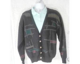 Men's Vintage Cardigan Sweater, Grandpa Cardigan Sweater, Black Patterned Wool Sweater, Mens Oversized Cardigan Sweater, Mens Size Large