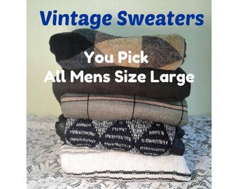Oversized Vintage Sweater, Hipster Patterned Sweater, Mens Vintage Sweater, Pullover Sweater, You PICK Sweater - ALL Mens Size Large