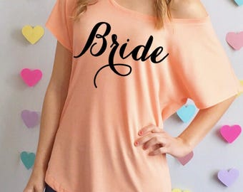 Bride Slouchy Tee Shirt. Bridal Shirt. Bridal T-Shirt. Bachelorette Shirt. Bride Top. Bridal Top. Plus Sizes Available. Many Colors.