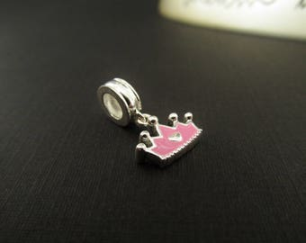 925 Sterling Silver Charm - GENUINE Licensed Commercial Disney Charm - Forever a Princess Pink Crown Charm - DIY Jewelry Parts / Supplies