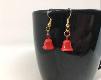 Red Bell Dangle Earrings