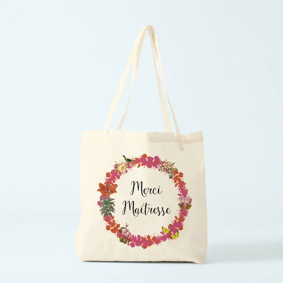 Merci Maîtresse, canvas bag, gift teacher, choose your color.