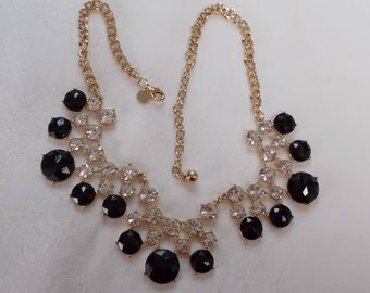 Talbot.  Black Plastic and Clear Rhinestone Necklace. (799)