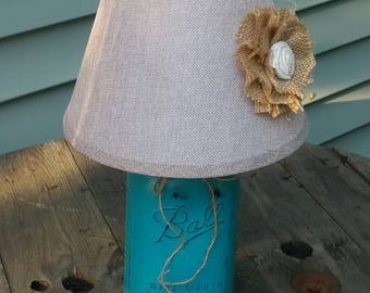 Turquoise Mason Jars, Turquoise Lamp, Mason Jar Lamp, Mason Jar Lighting, Mason Jar Decor, Beach House Lamp, Lake House DecorTu