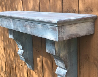 Distressed Beachy Blue Fireplace Mantle with Corbels, Floating Mantle Shelf, Distressed