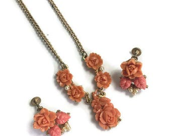 Signed Coro Jewelry Set, Vintage 1950s Set, Coral Thermoset Flower Necklace and Earrings, Victorian Revival Costume Jewelry, Demi Parure