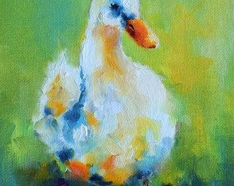 Original Oil Painting, Impressionist Bird Art, Duck Portrait 6x6 Inch