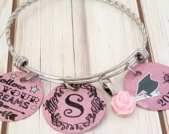 Custom Graduation Stainless Bangle Bracelet-Follow Your Dreams ! with Name-Rose Charm and Graduation Year Disc   2018 Graduate