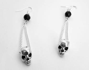 Gothic earrings, skull earrings, heavy metal earrings, gothic jewellery, punk earrings, punk jewellery, gothic gift, silver earrings,