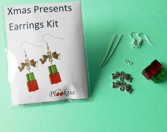 DIY Present Earring Kit, Christmas Stocking Filler, Gifts for Girls, Quirky Festive Accessory, Jewelry Making Kits, Bead Earring Kits
