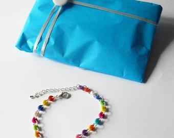 Rainbow Bracelet, Tiny Colorful Buttons, Crafty Mom Present, Chakka Vibe Jewerly, Adjustable Bangle, Festival Wear, Funky Original Designs