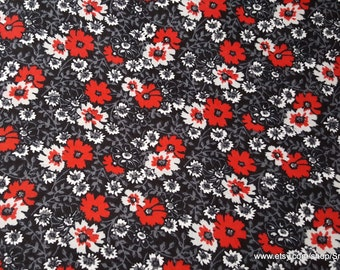 Flannel Fabric - Black Red Floral - By the yard - 100% Cotton Flannel