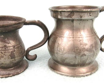Antique Pewter Measures, 1/2 Gill and 1/4 Gill, Antique Metalware, Georgian Style, Victorian Proof Stamps, Handled Measures, Country Kitchen