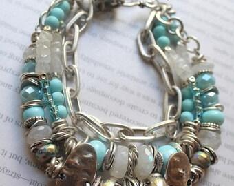 bracelet, turquoise bracelet, rainbow moonstone bracelet, robin's egg turquoise bracelet, bohemian bracelet, dendrite opal bracelet, spring