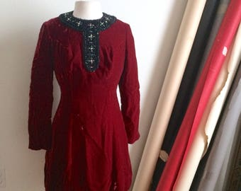 Vintage Red Velvet Dress, Beaded Collar, Sequins, Beads, Mini Dress, Long Sleeve, Fitted, Christmas Holiday Party