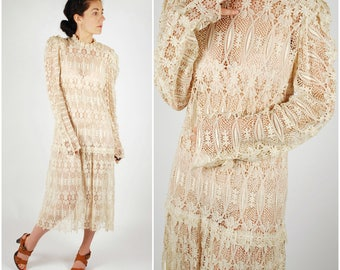 1980's Lace Dress - 80's does 20's Cream Wedding Dress - 1920's Style Dress - Size M/L