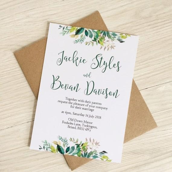 Greenery wedding invitation Rustic wedding invitation