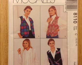1996 embellish vest shirt, McCall 8110 miss size 10, 12, 14, Factory Fold, Creative Woman sewing pattern by Nancy Zieman, vintage OOP supply